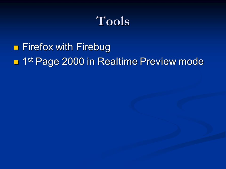 Tools Firefox with Firebug 1st Page 2000 in Realtime Preview mode