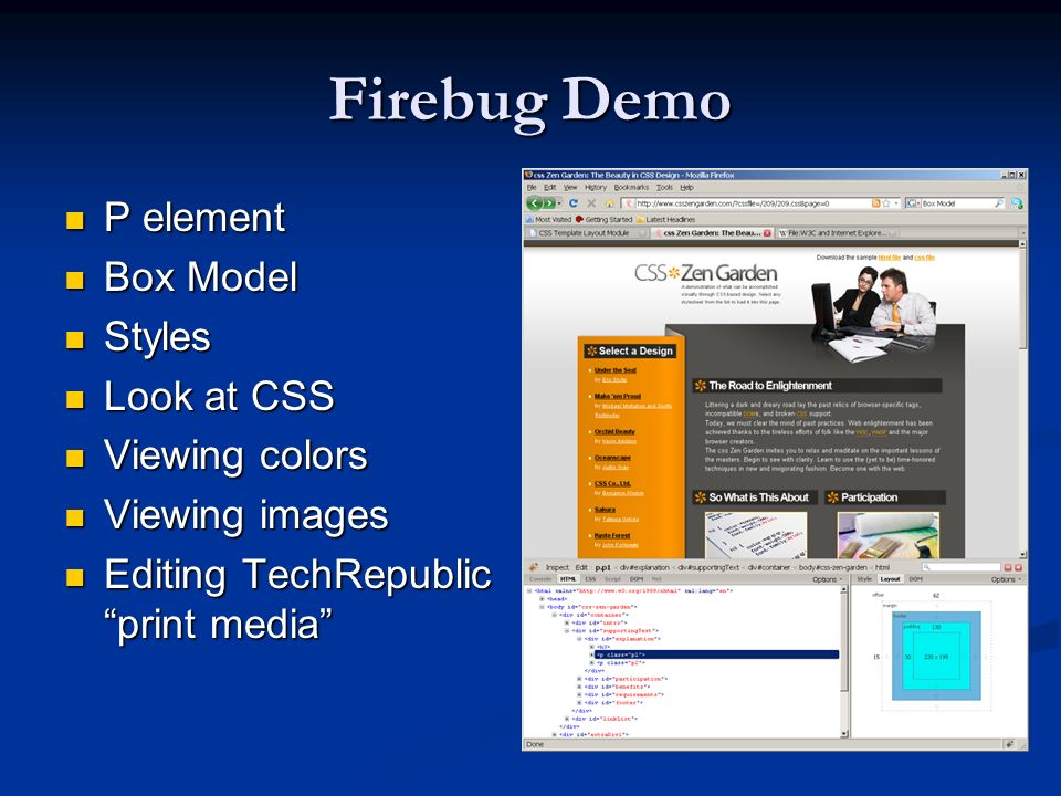 Firebug Demo P element Box Model Styles Look at CSS Viewing colors