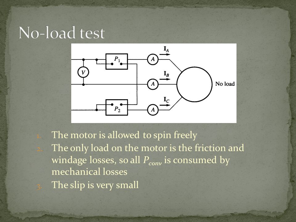 No-load test The motor is allowed to spin freely