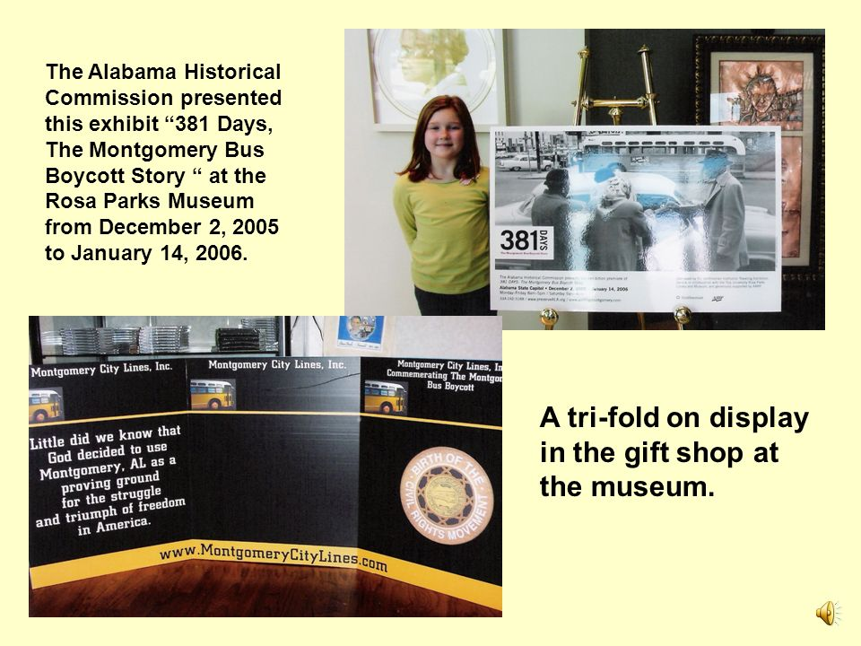 A tri-fold on display in the gift shop at the museum.