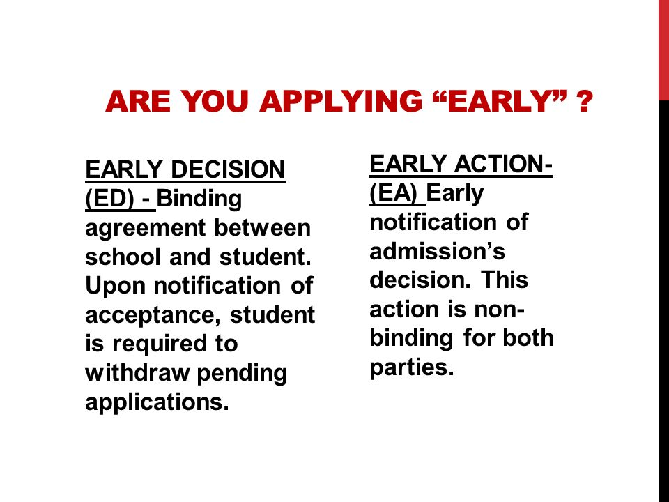 ARE YOU APPLYING EARLY