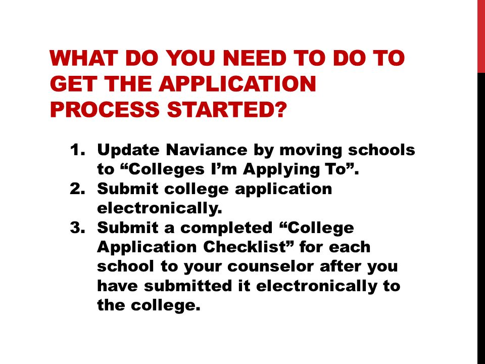 What do you need to do to get the application process started