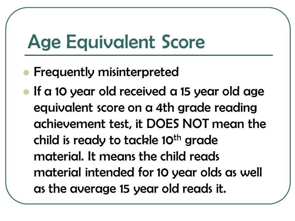 Age Equivalent Score Frequently misinterpreted