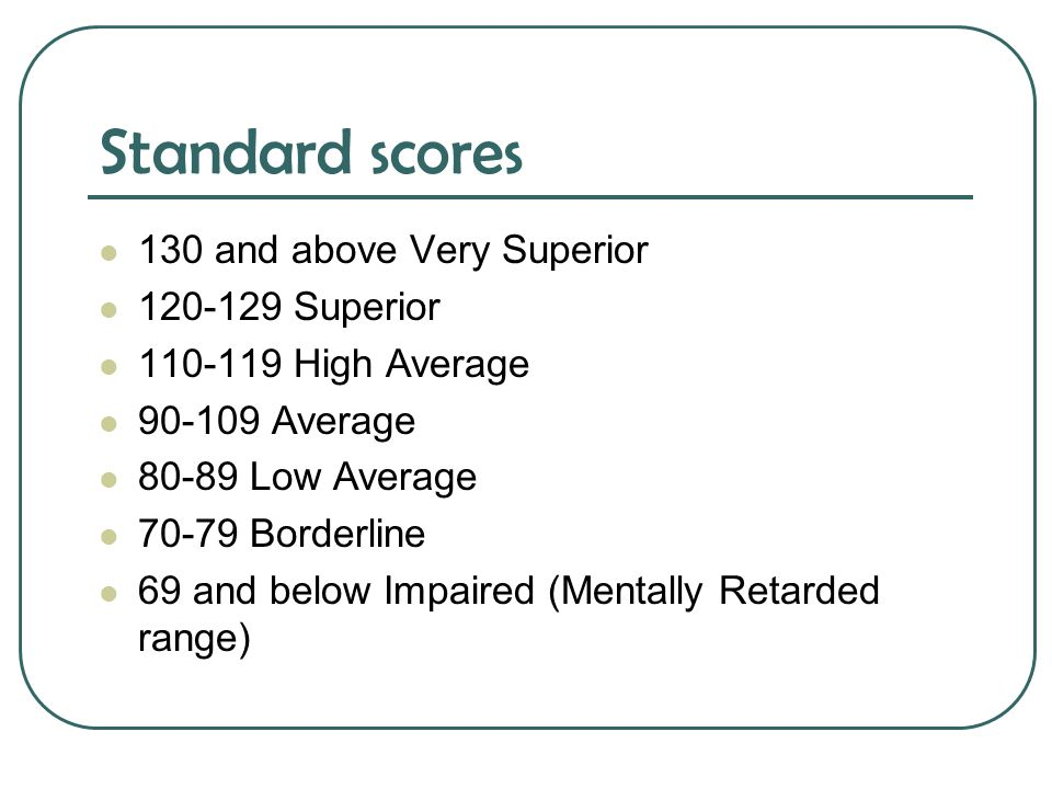 Standard scores 130 and above Very Superior 120-129 Superior