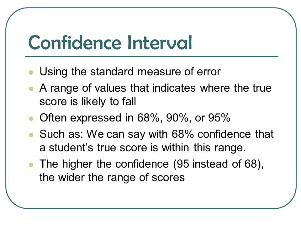 Confidence Interval Using the standard measure of error
