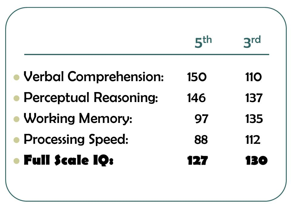 5th 3rd Verbal Comprehension: 150 110 Perceptual Reasoning: 146 137
