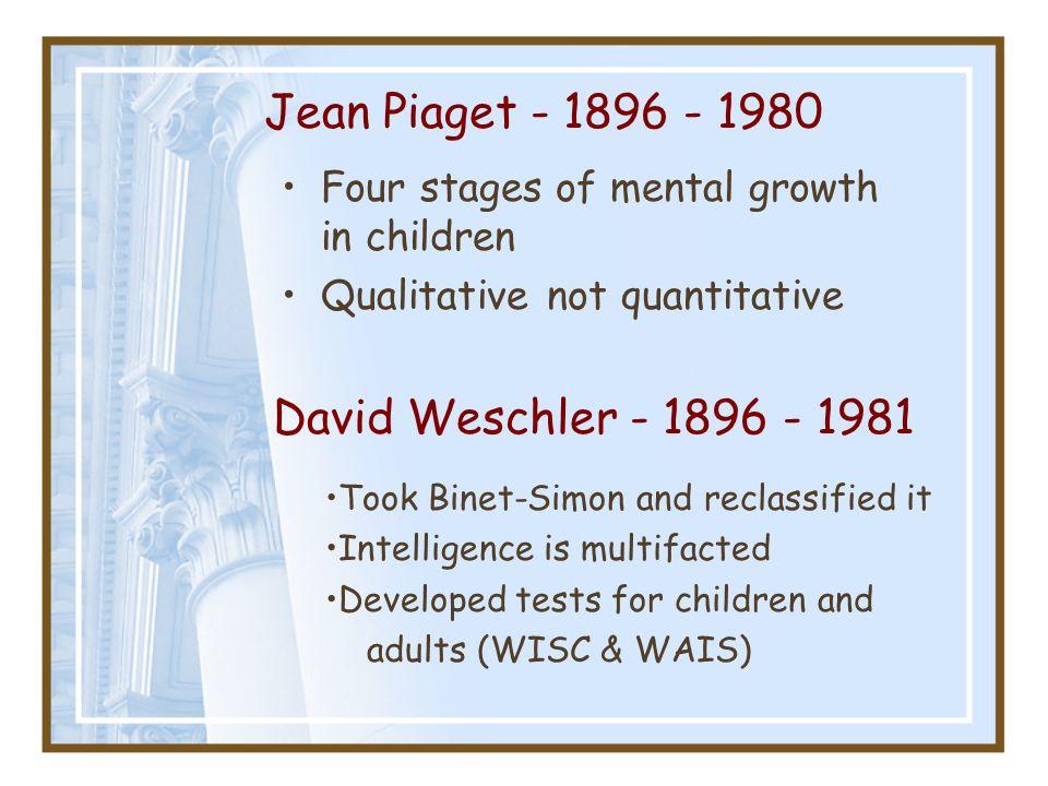 Jean Piaget - 1896 - 1980 David Weschler - 1896 - 1981