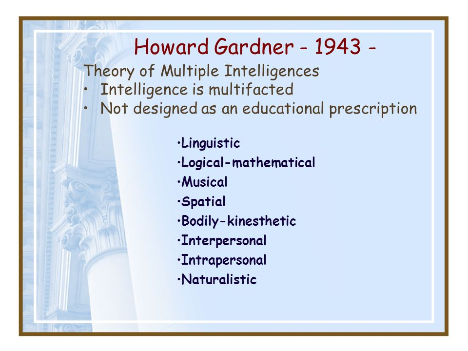 howard gardner theory This form can help you determine which intelligences are strongest for you if you're a teacher or tutor, you can also use it to find out which.