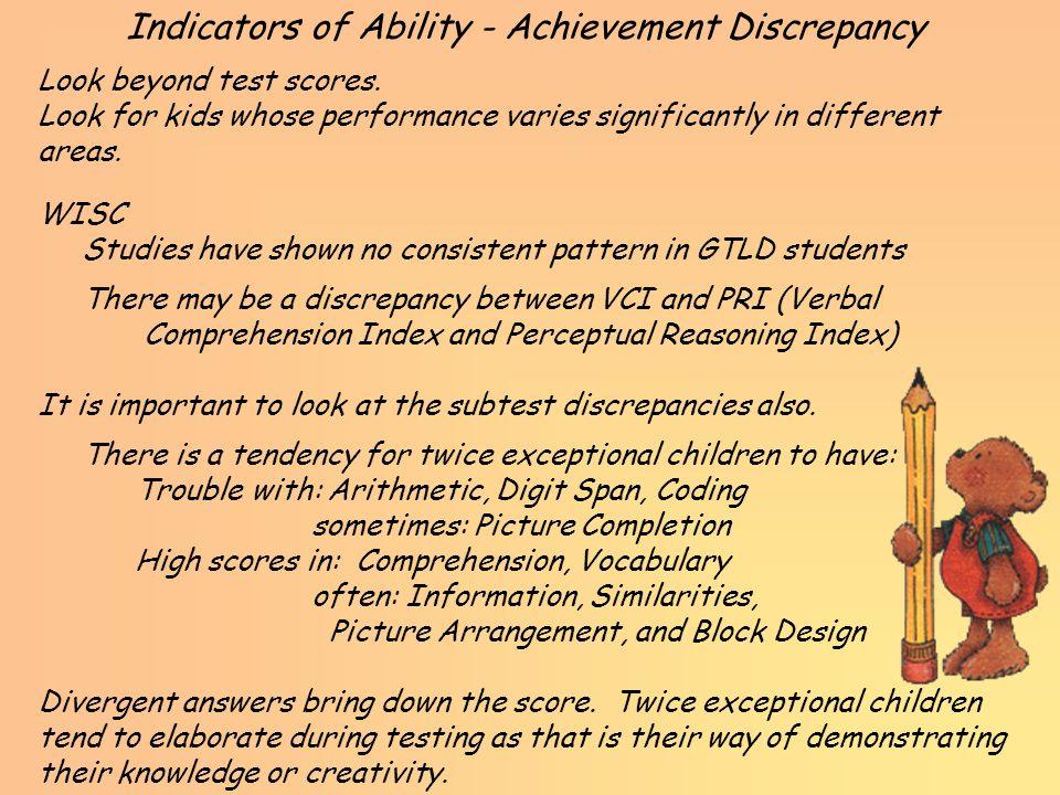 Indicators of Ability - Achievement Discrepancy
