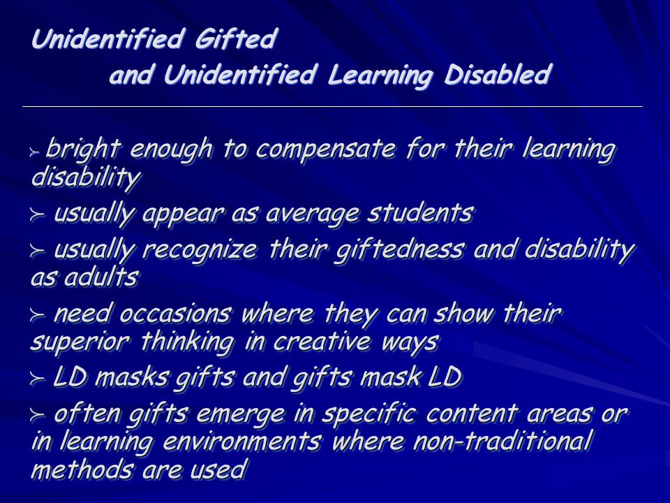and Unidentified Learning Disabled