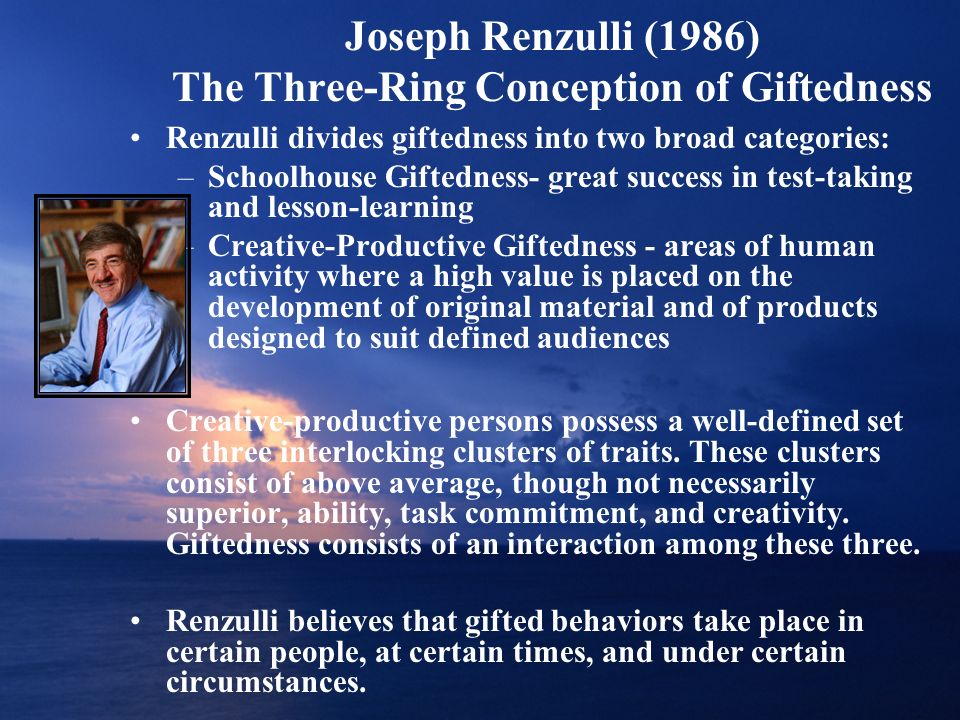 Joseph Renzulli (1986) The Three-Ring Conception of Giftedness