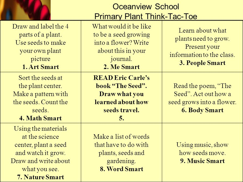 Oceanview School Primary Plant Think-Tac-Toe