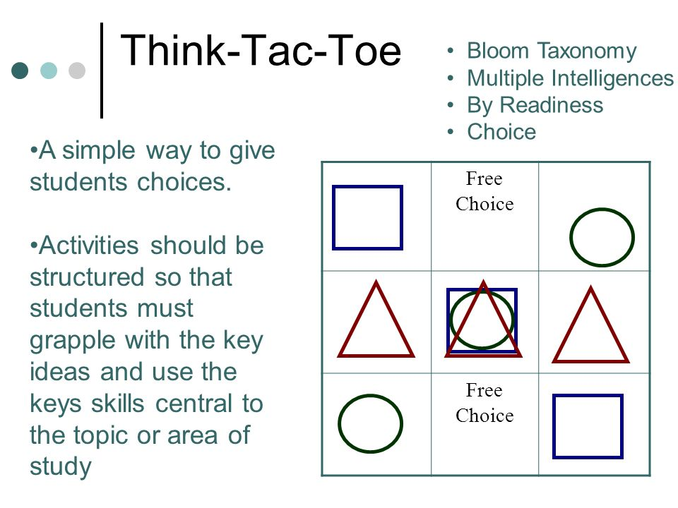 Think-Tac-Toe A simple way to give students choices.