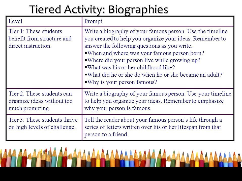 Tiered Activity: Biographies