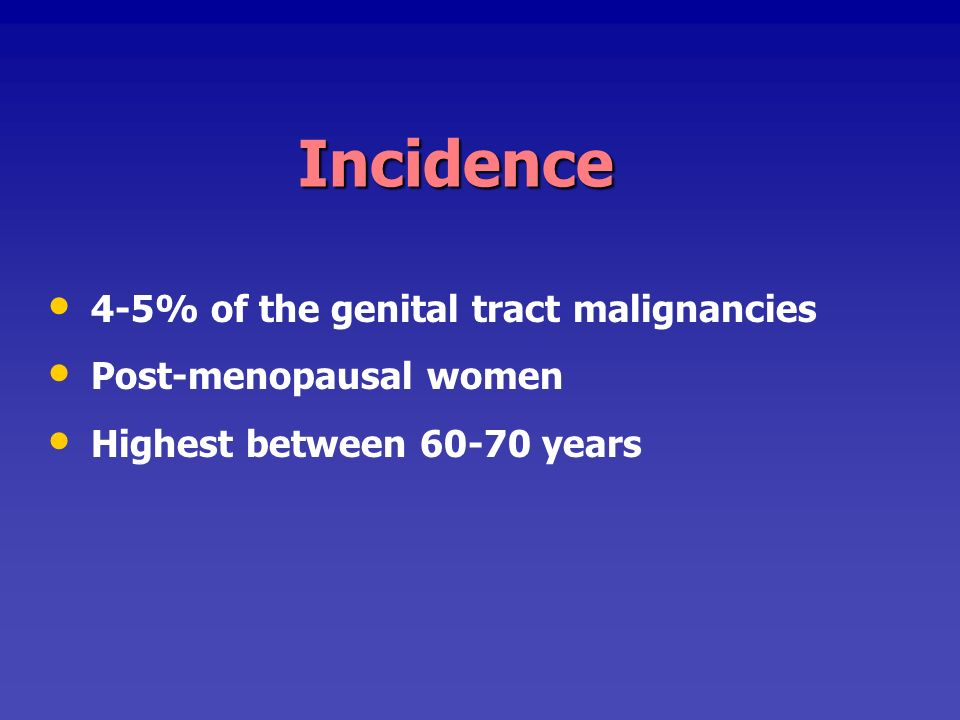 Incidence 4-5% of the genital tract malignancies Post-menopausal women