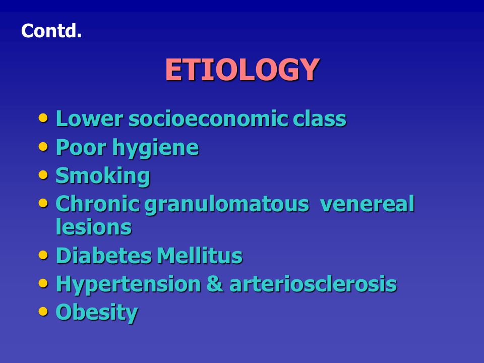 ETIOLOGY Lower socioeconomic class Poor hygiene Smoking