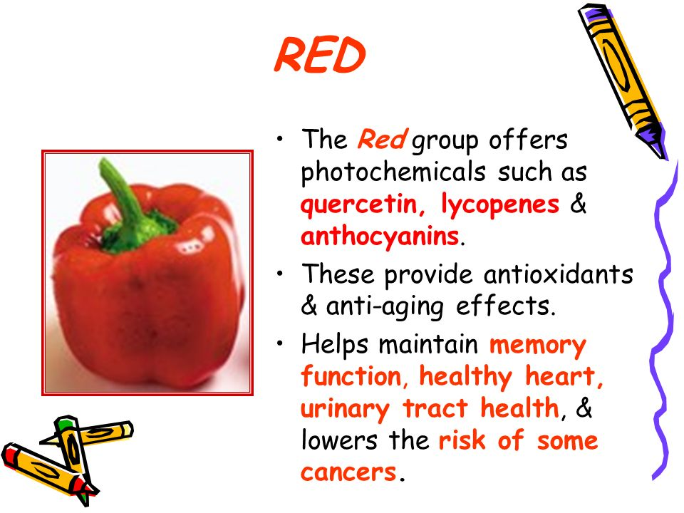 RED The Red group offers photochemicals such as quercetin, lycopenes & anthocyanins. These provide antioxidants & anti-aging effects.