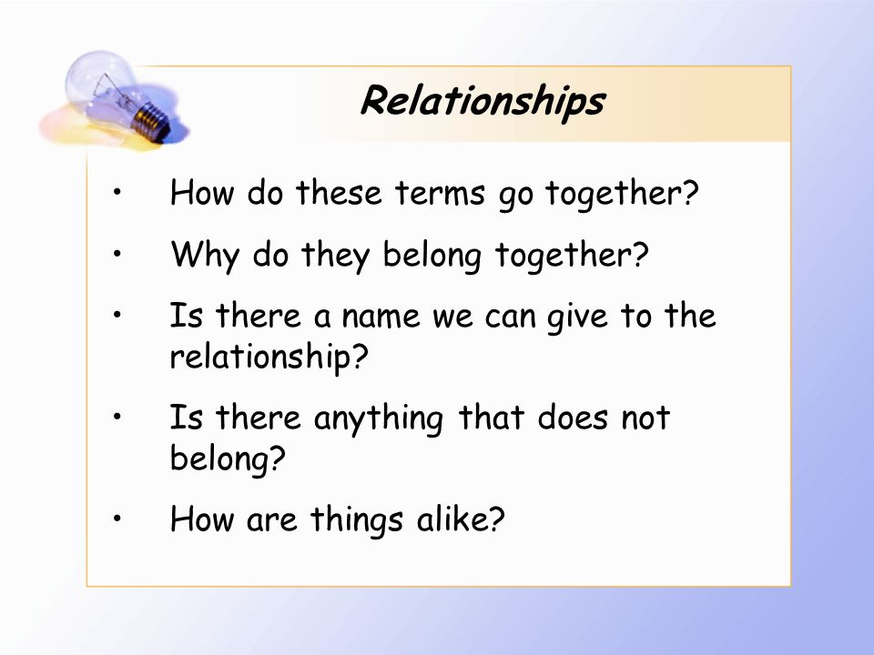 Relationships How do these terms go together