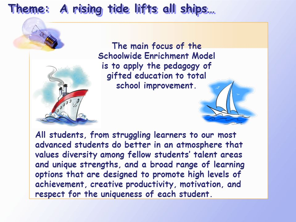 Theme: A rising tide lifts all ships…
