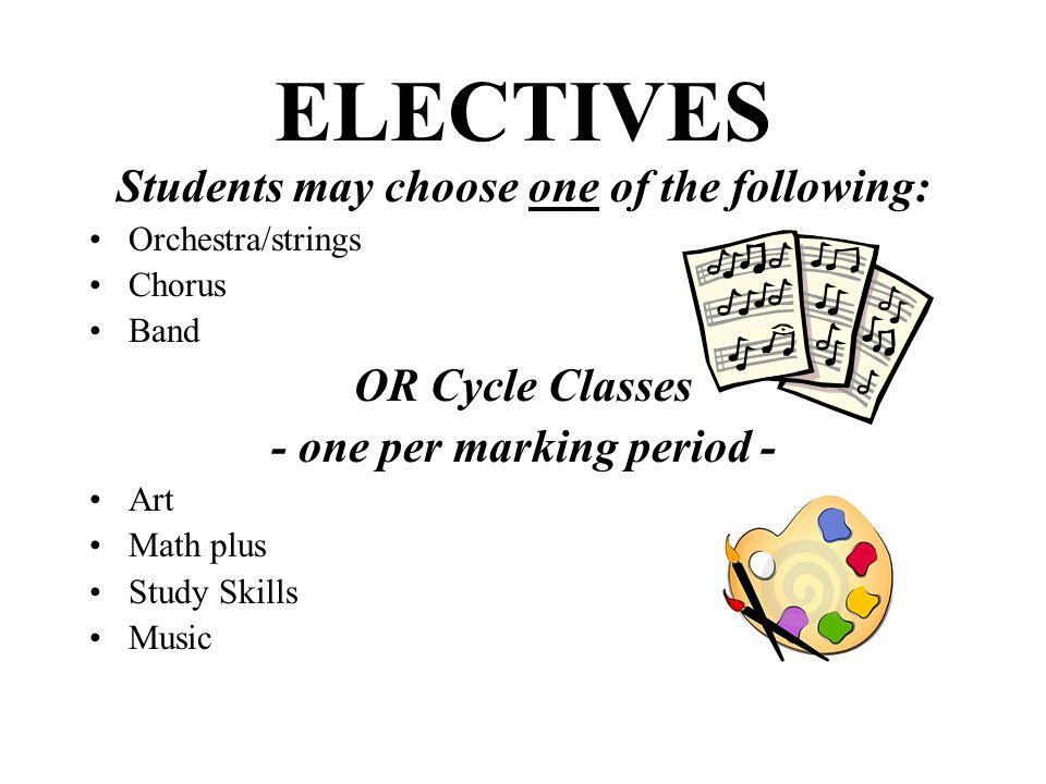 - one per marking period -