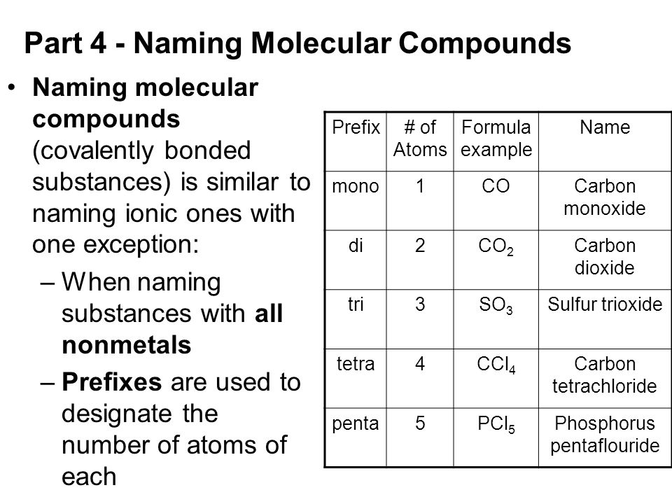 Mission B5 - How do you Name and Write chemical formulas ...