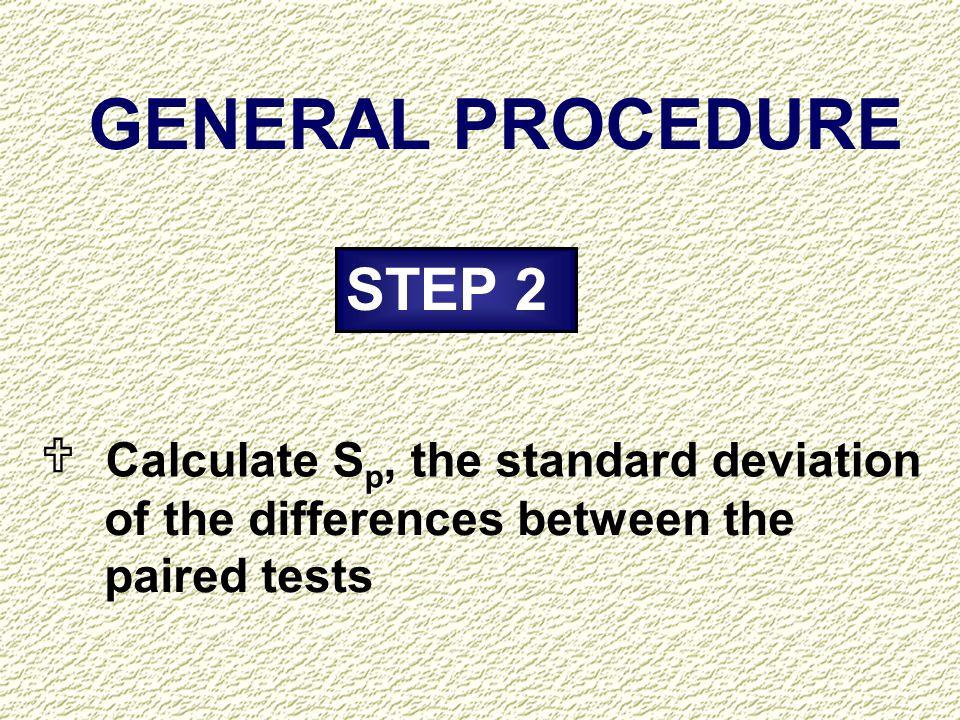 GENERAL PROCEDURE STEP 2 U Calculate Sp, the standard deviation