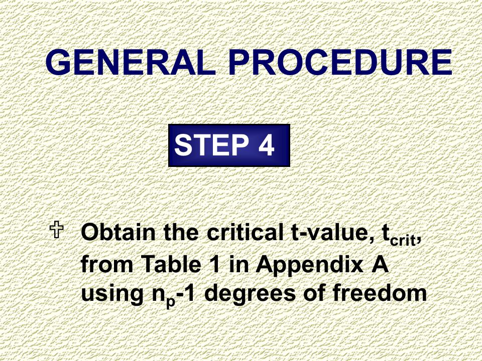 GENERAL PROCEDURE STEP 4 U Obtain the critical t-value, tcrit,
