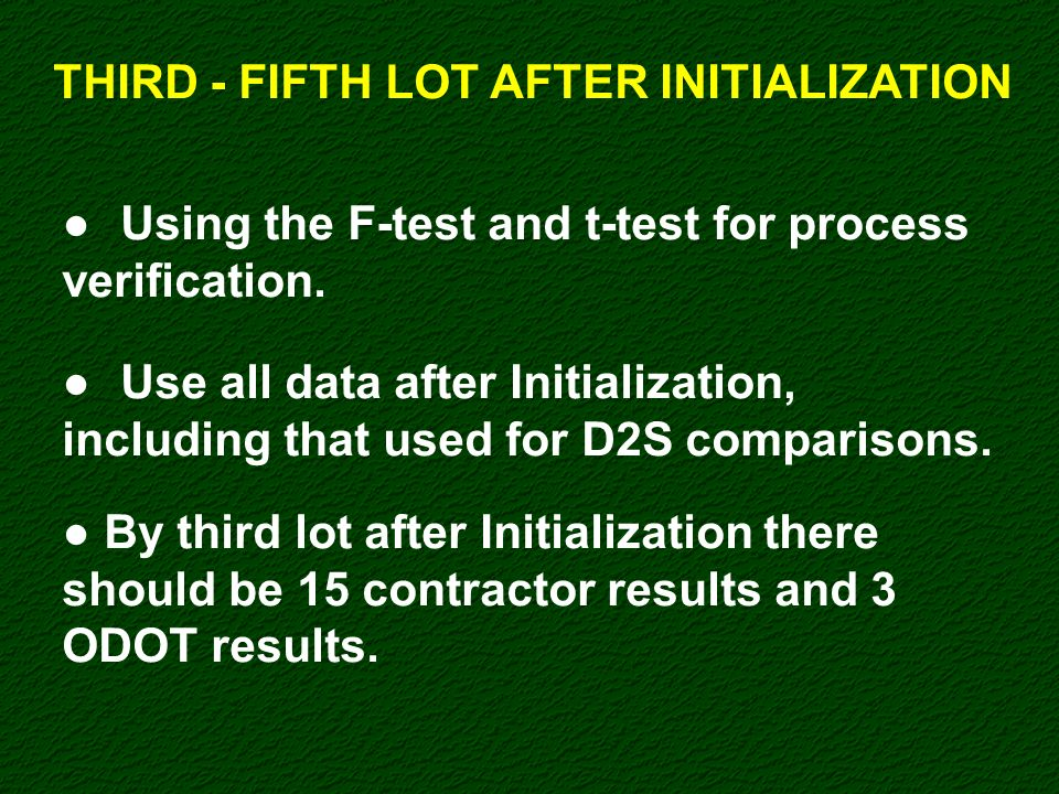 THIRD - FIFTH LOT AFTER INITIALIZATION