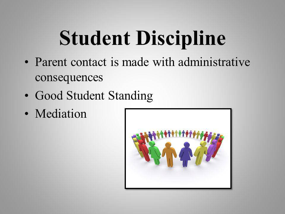 Student Discipline Parent contact is made with administrative consequences. Good Student Standing.