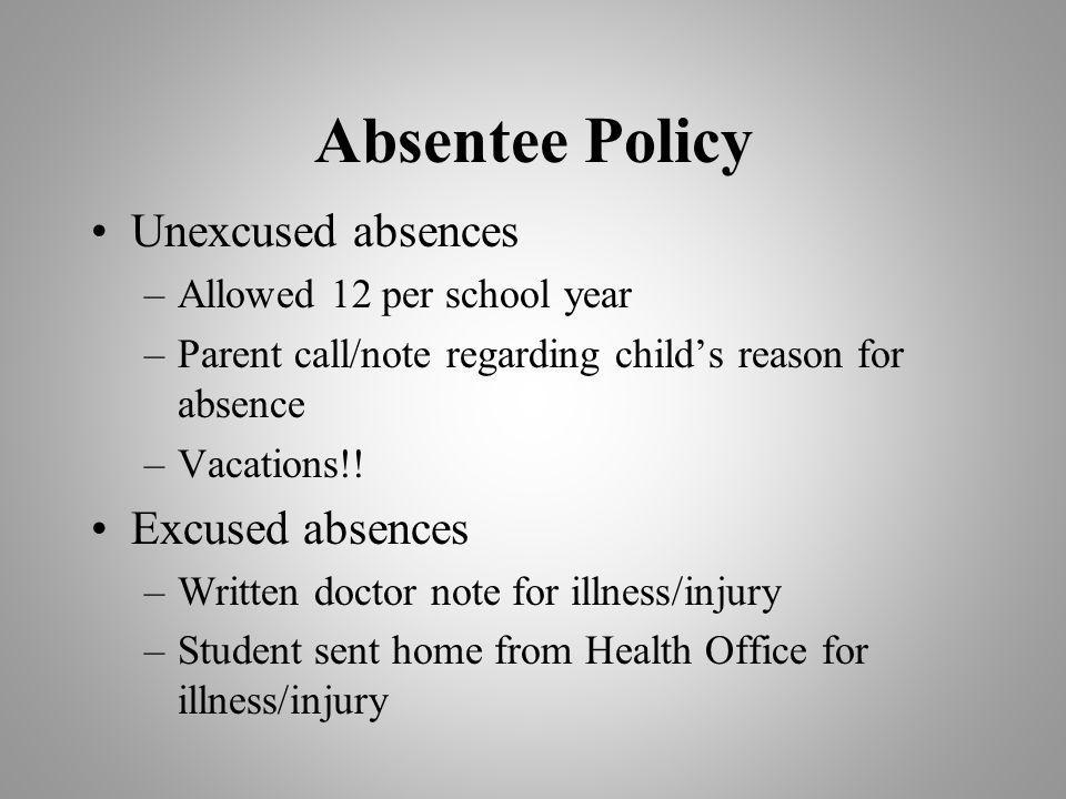 Absentee Policy Unexcused absences Excused absences