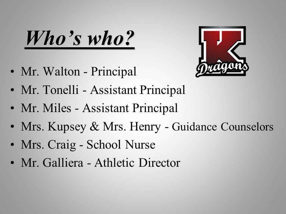 Who's who Mr. Walton - Principal Mr. Tonelli - Assistant Principal