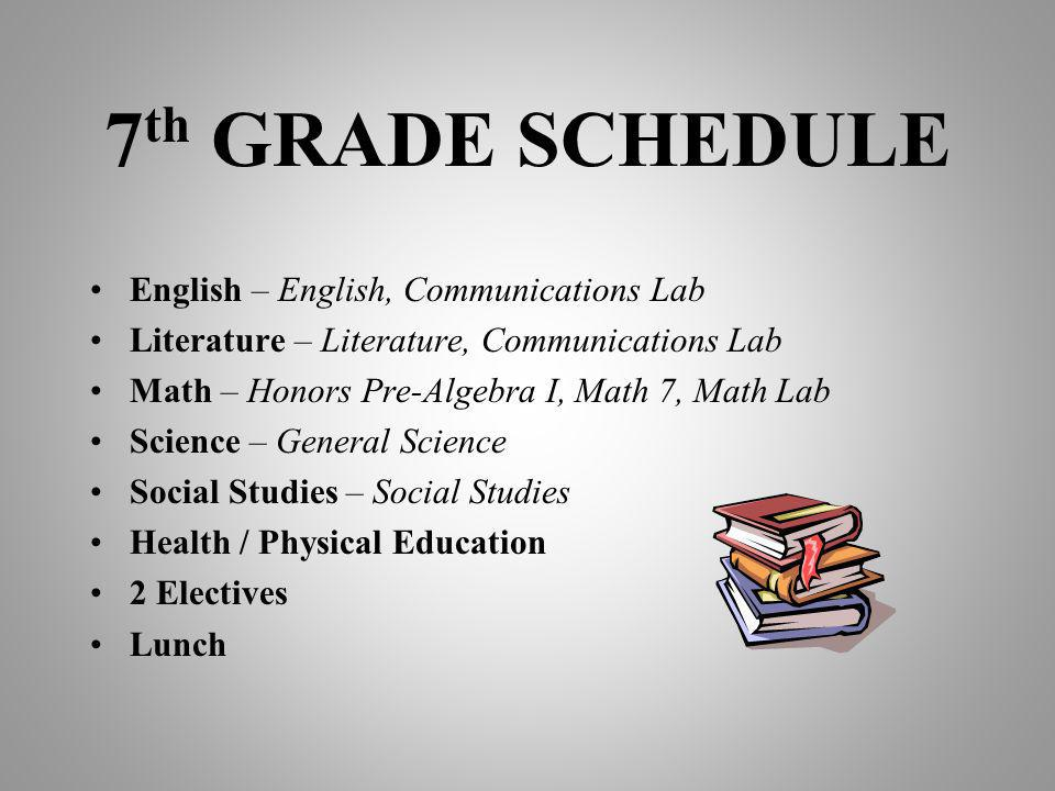 7th GRADE SCHEDULE English – English, Communications Lab