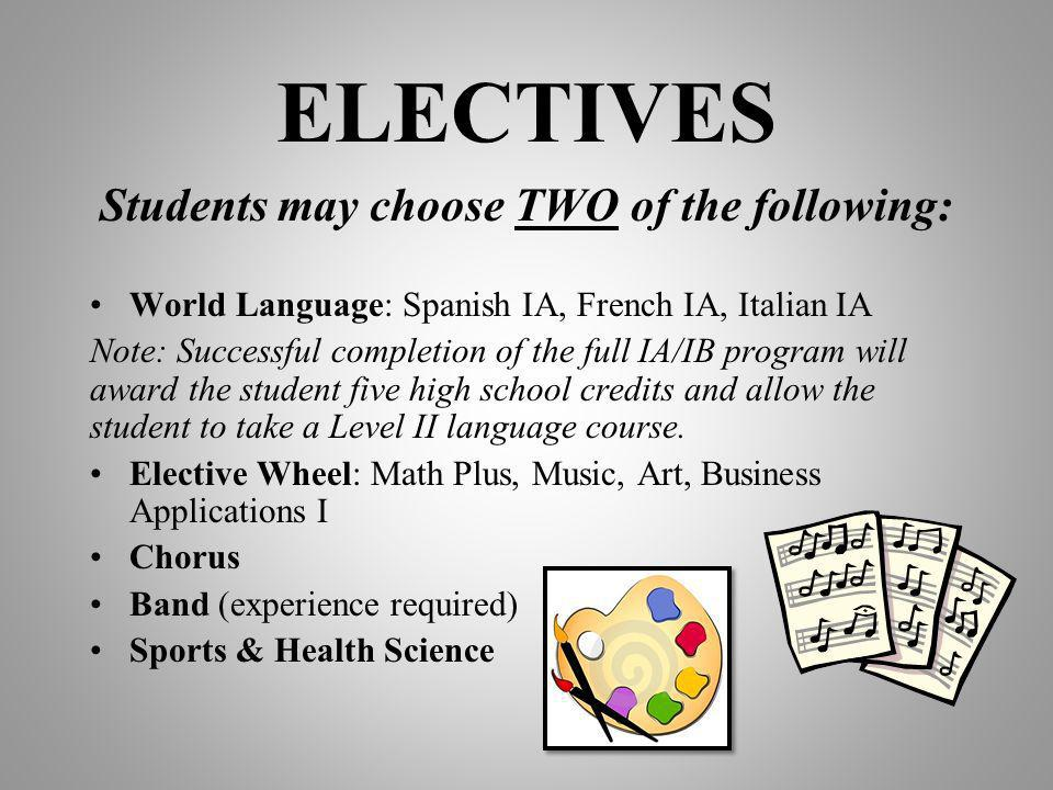 Students may choose TWO of the following: