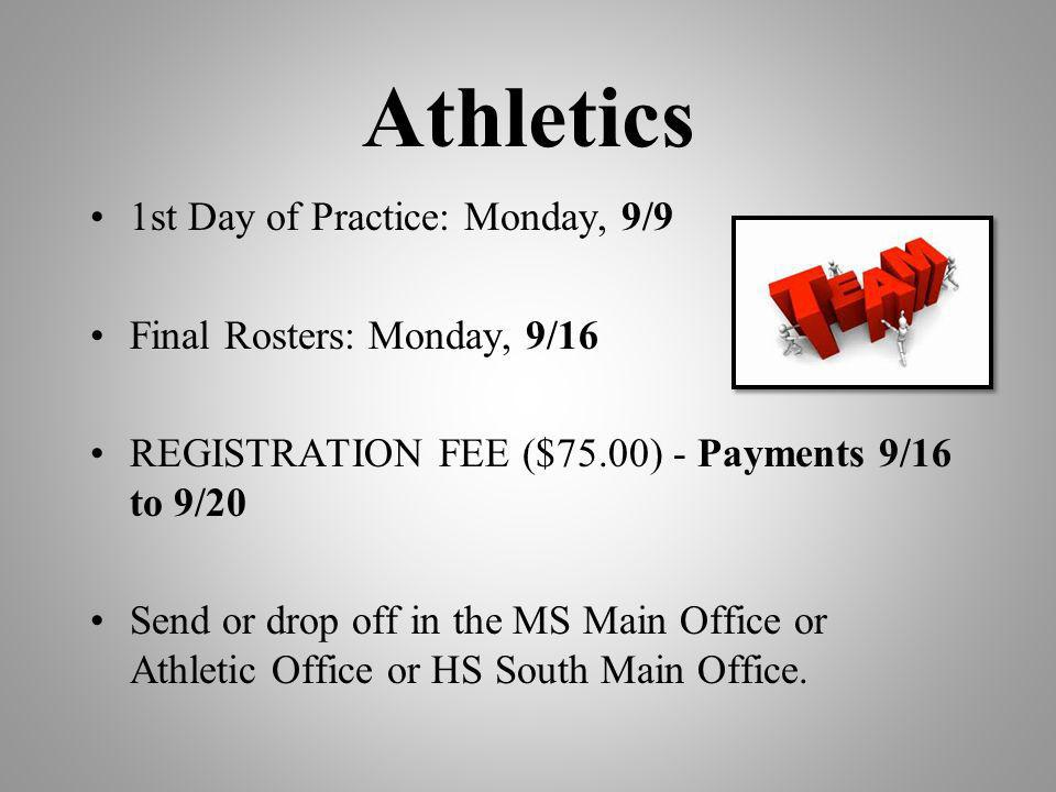 Athletics 1st Day of Practice: Monday, 9/9 Final Rosters: Monday, 9/16