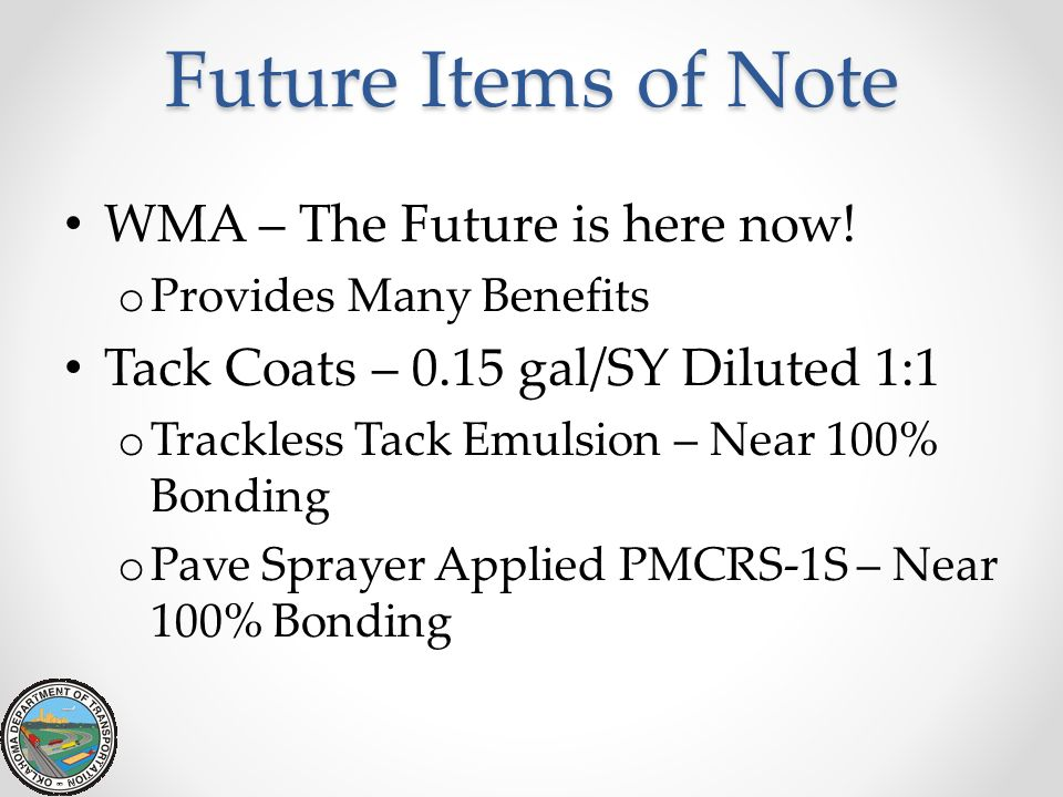 Future Items of Note WMA – The Future is here now!