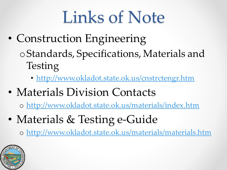 Links of Note Construction Engineering Materials Division Contacts