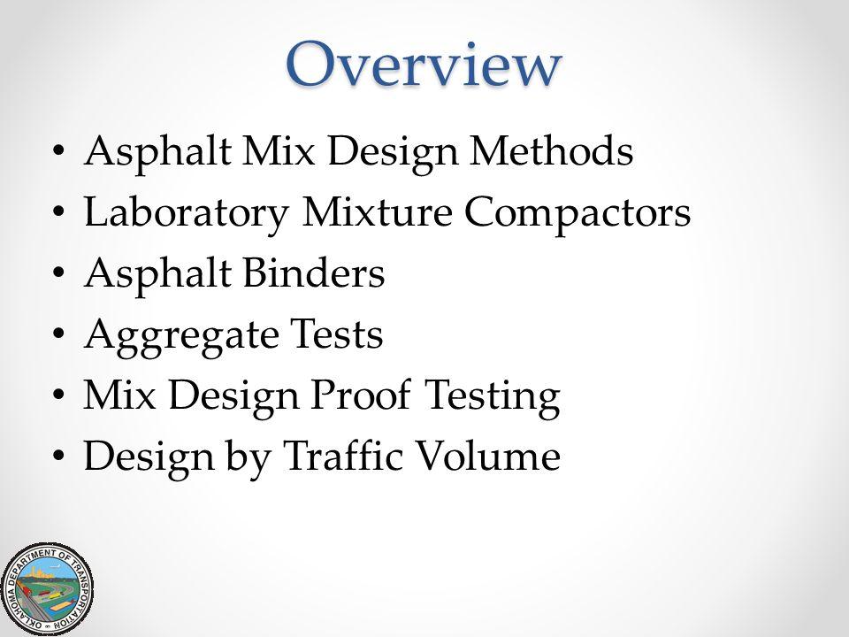 Overview Asphalt Mix Design Methods Laboratory Mixture Compactors