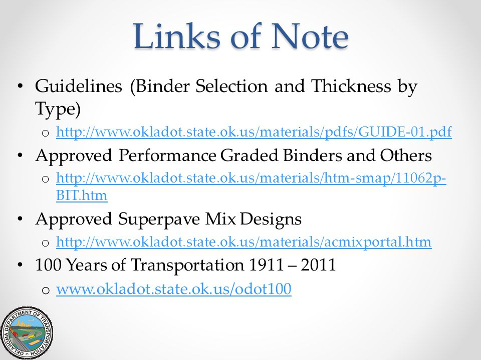 Links of Note Guidelines (Binder Selection and Thickness by Type)