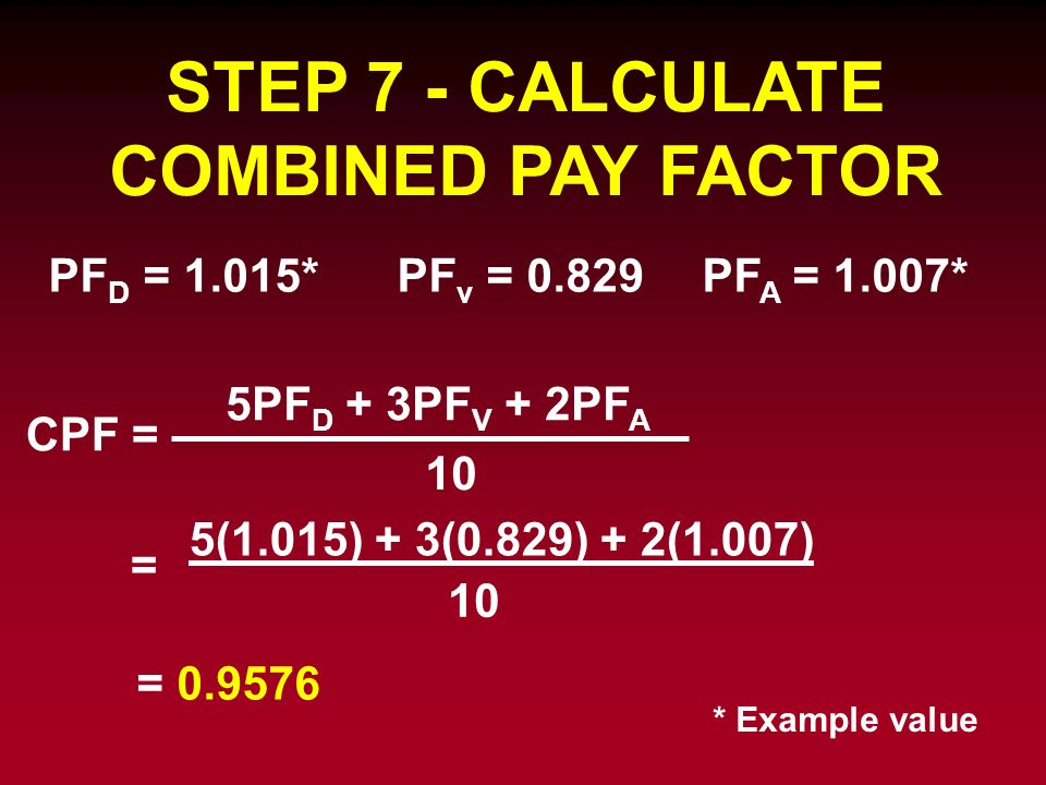 STEP 7 - CALCULATE COMBINED PAY FACTOR