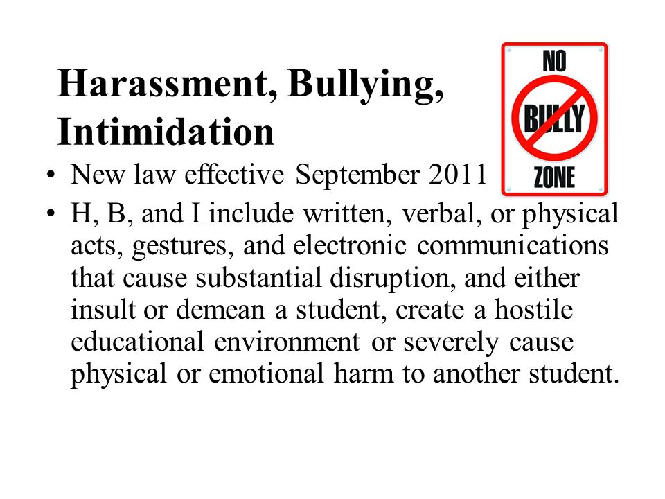 Harassment, Bullying, Intimidation