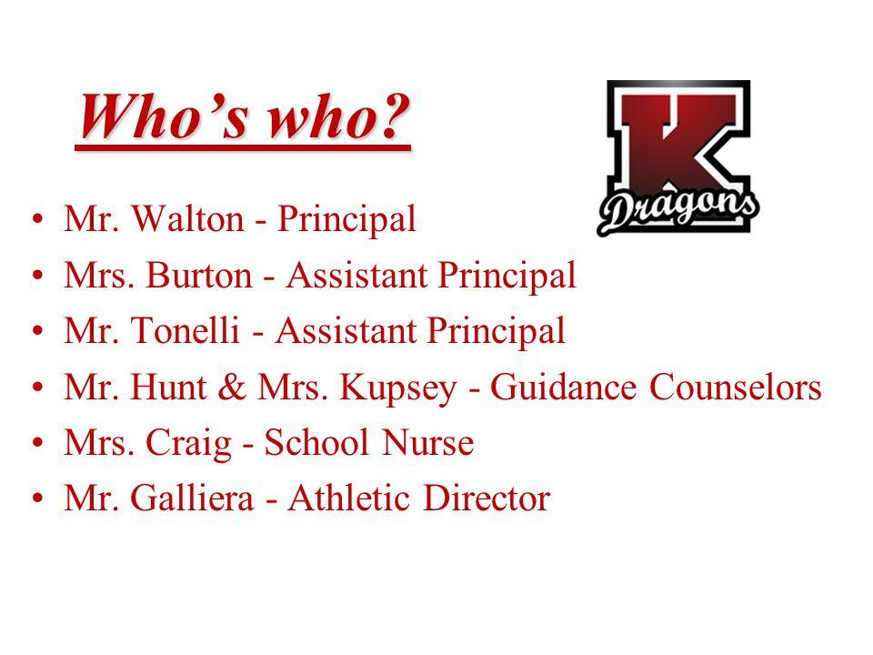 Who's who Mr. Walton - Principal Mrs. Burton - Assistant Principal