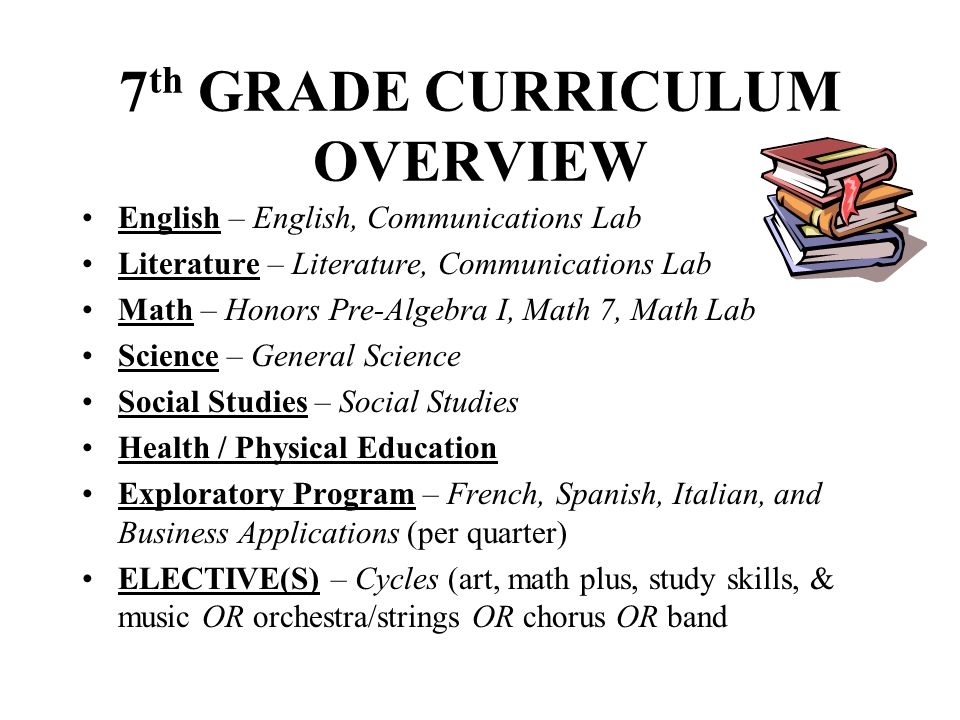 7th GRADE CURRICULUM OVERVIEW
