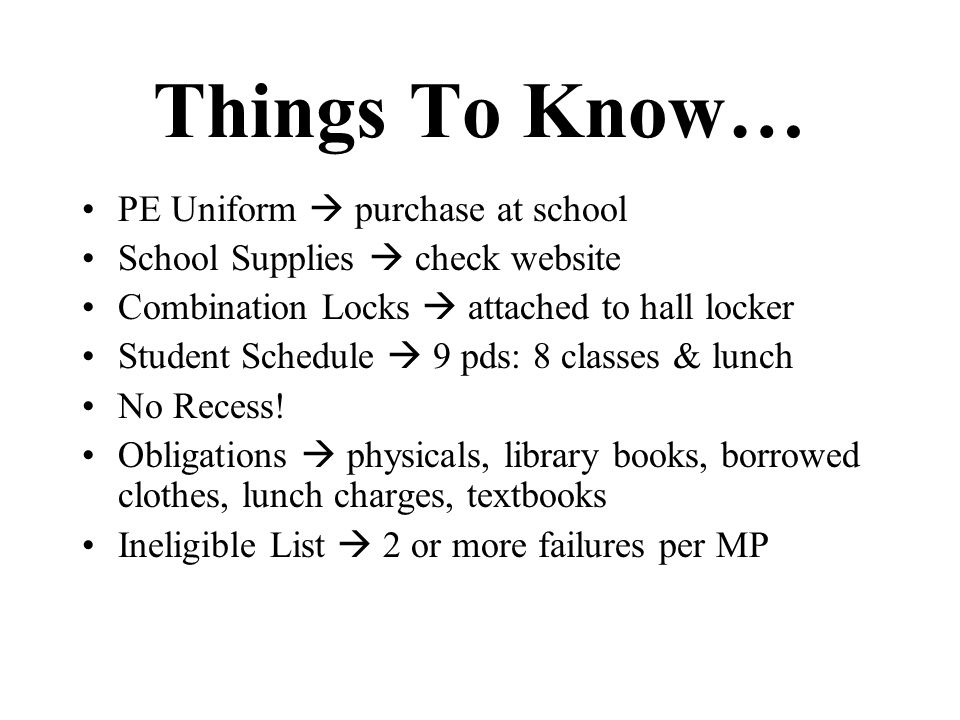 Things To Know… PE Uniform  purchase at school