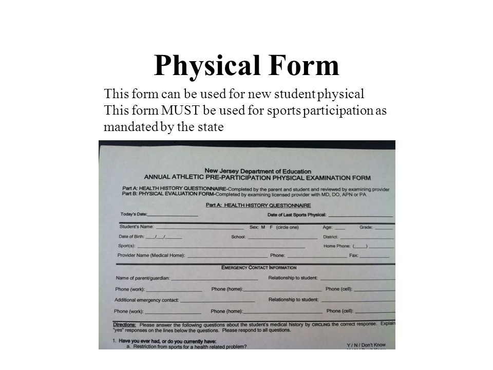 Physical Form This form can be used for new student physical