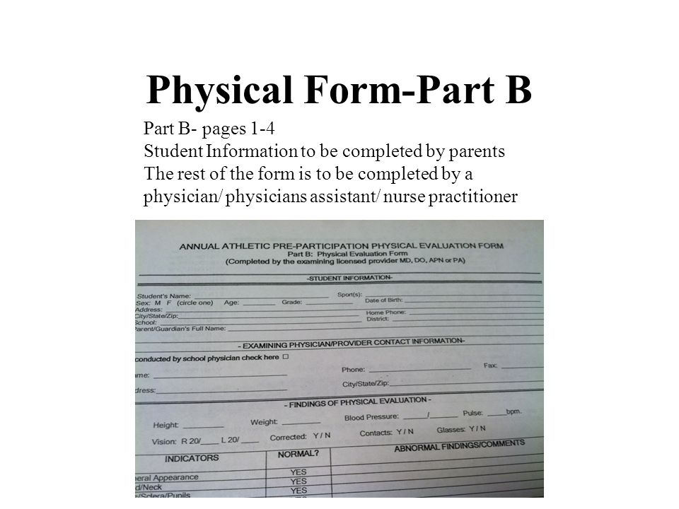Physical Form-Part B Part B- pages 1-4