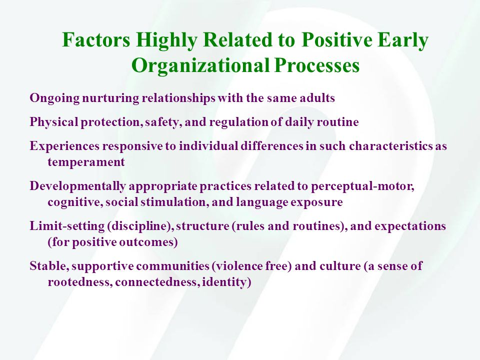 Factors Highly Related to Positive Early Organizational Processes