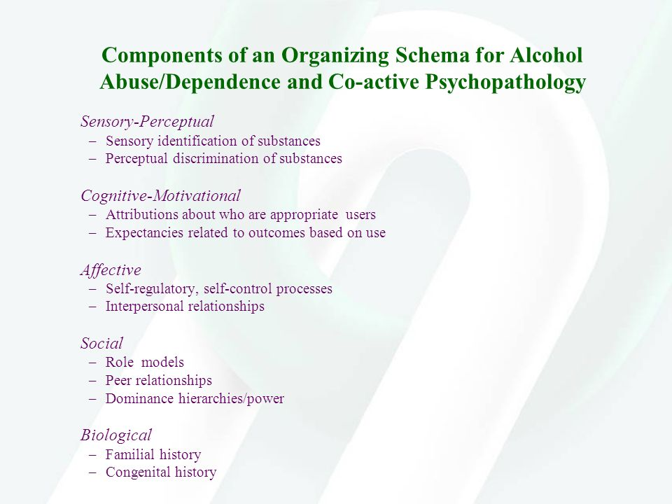 Components of an Organizing Schema for Alcohol Abuse/Dependence and Co-active Psychopathology