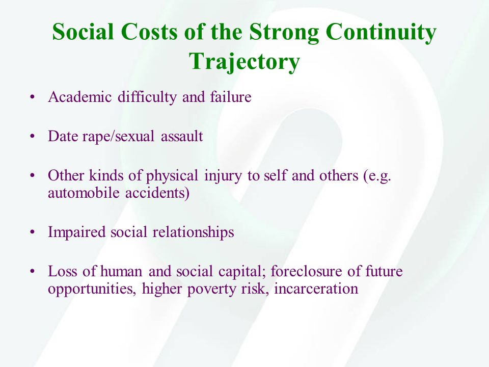 Social Costs of the Strong Continuity Trajectory