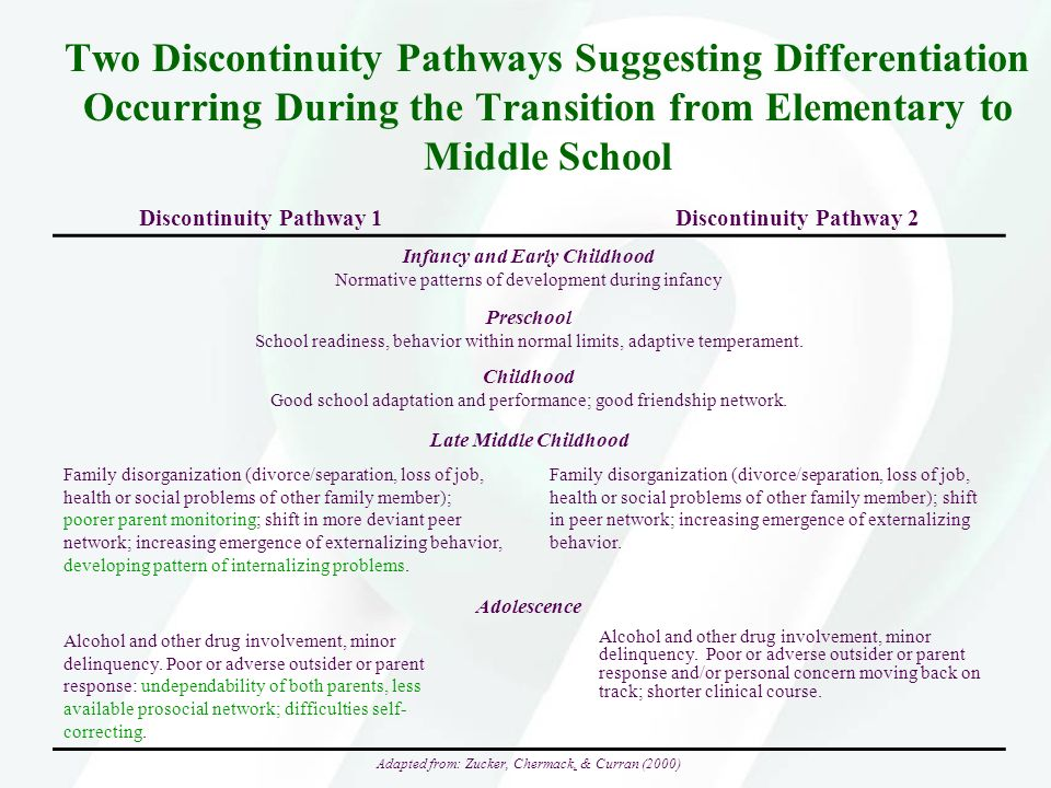 Two Discontinuity Pathways Suggesting Differentiation Occurring During the Transition from Elementary to Middle School