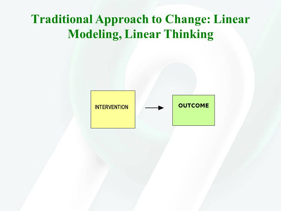 Traditional Approach to Change: Linear Modeling, Linear Thinking